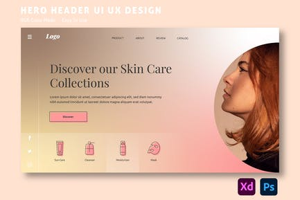Skin Care – Hero Header Website Template