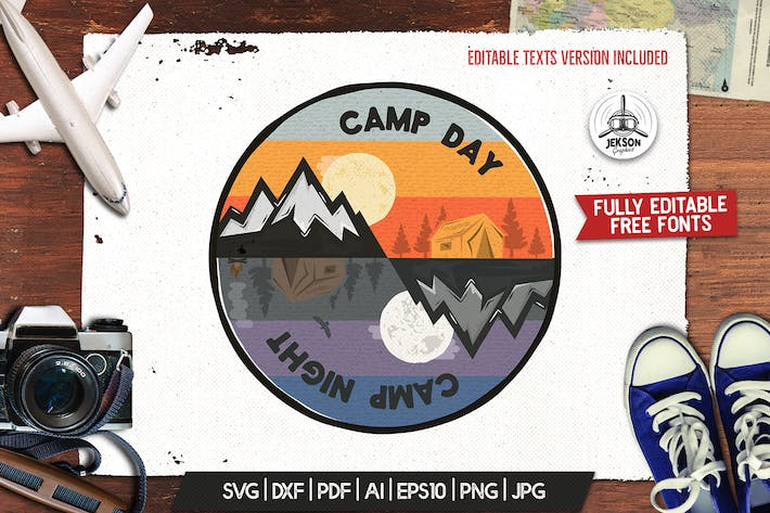 Camp Day Camping Night Adventure Logo, Retro Shirt