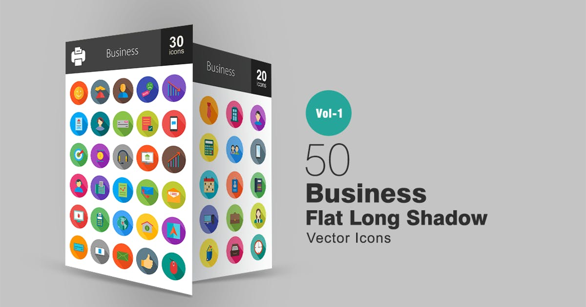 Download 50 Business Flat Long Shadow Icons by IconBunny