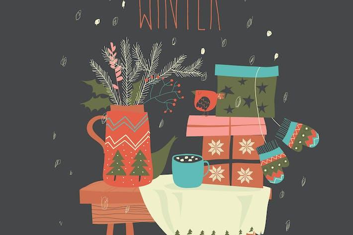 Bodegón con regalos y elementos navideños.