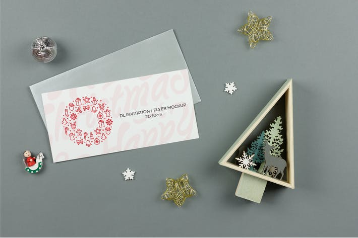 Thumbnail for Christmas DL invitation Mockup