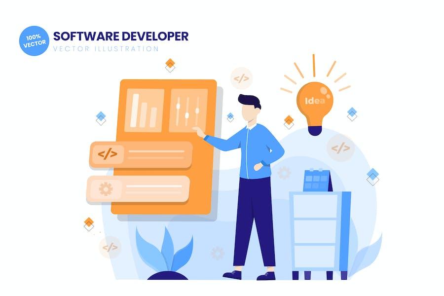 Software Developer Flat Vektor Illustration