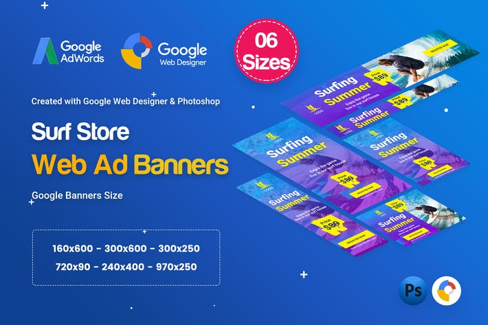 Thumbnail for Surf Board Banners HTML5 Ad D41 - GWD & PSD