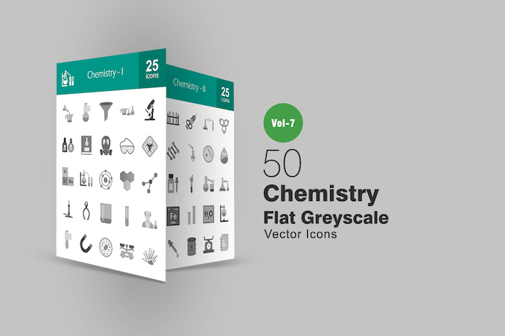 Thumbnail for 50 Chemistry Flat Greyscale Icons