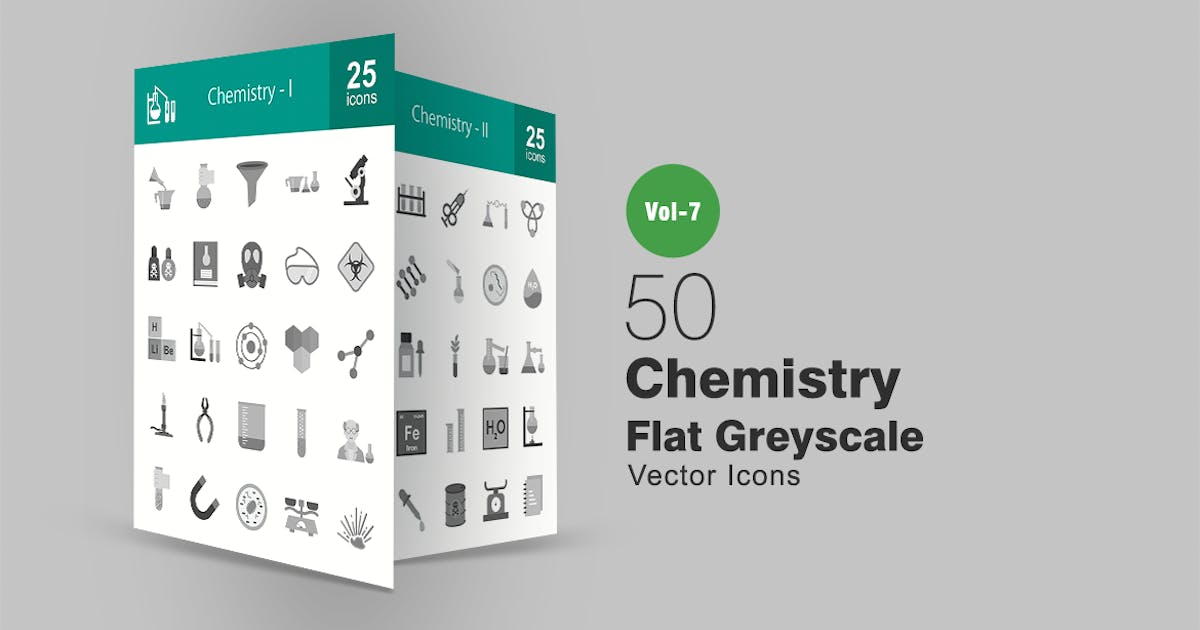 Download 50 Chemistry Flat Greyscale Icons by IconBunny