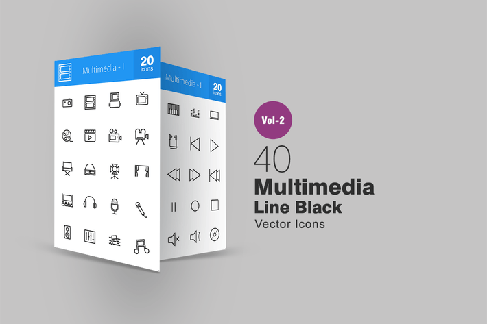 Thumbnail for 40 Multimedia Line Icons