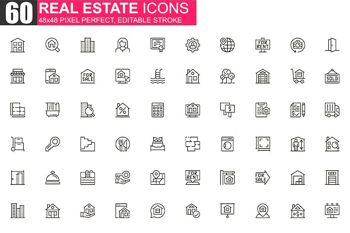 Thumbnail for Real Estate Thin Line Icons Pack