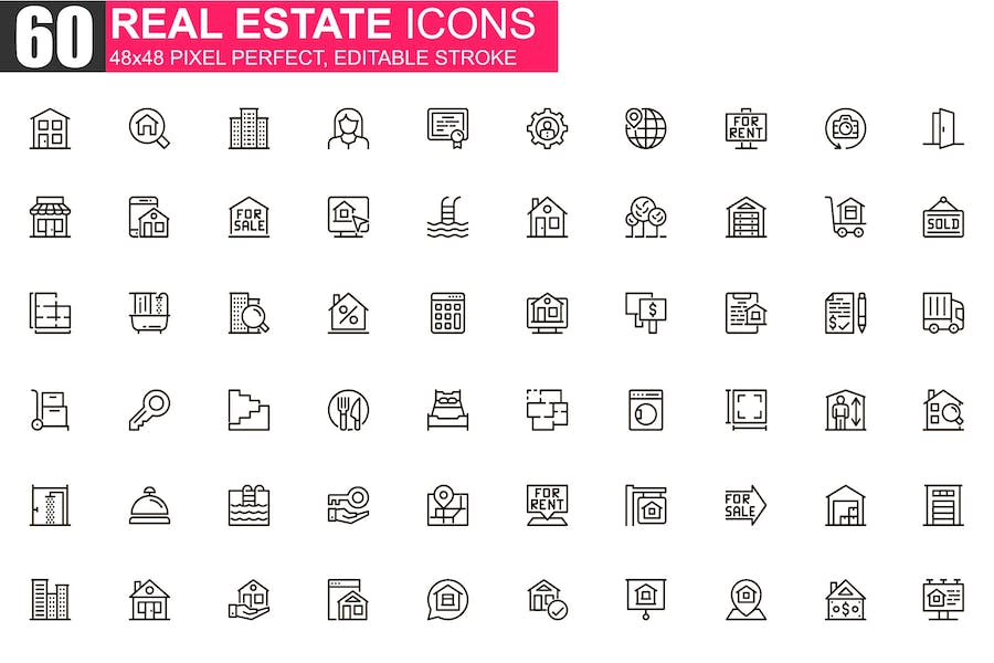 Real Estate Thin Line Icons Pack