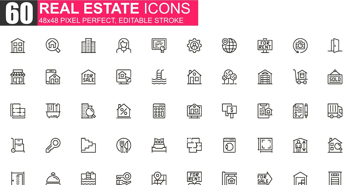 Download Real Estate Thin Line Icons Pack by alexdndz