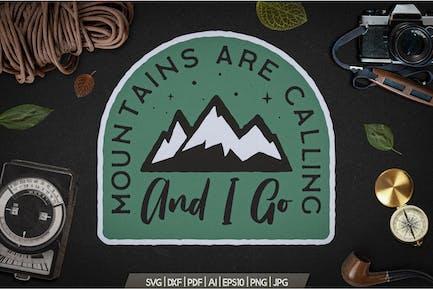 Mountain Calling Logo, Retro Camping Badge T-Shirt