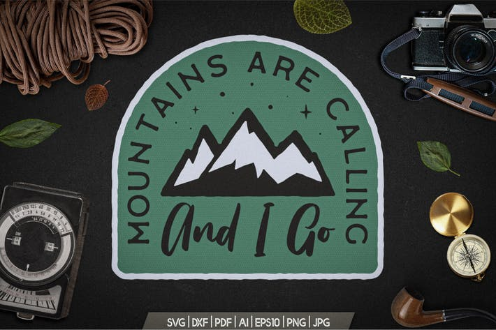 Mountain Calling Logo, Retro Camping Badge T-Shirt