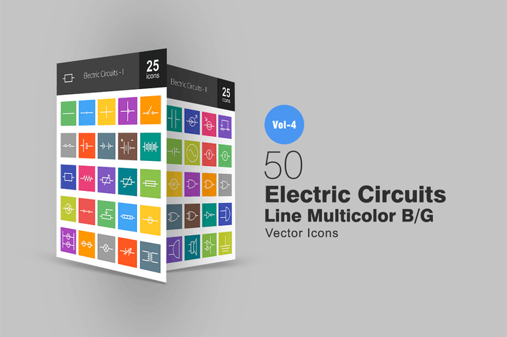 Thumbnail for 50 Electric Circuits Line Multicolor Icons