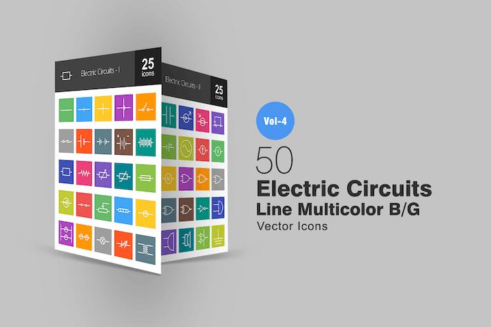 Thumbnail for 50 электрических цепей линии Многоцветные Иконки