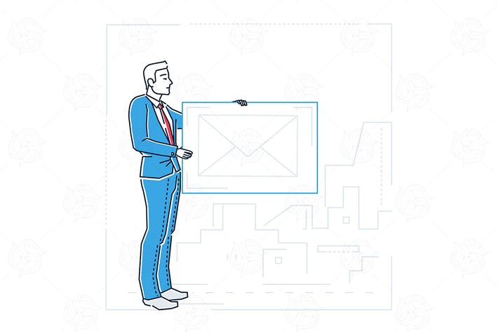 Thumbnail for Businessman with email - line design illustration