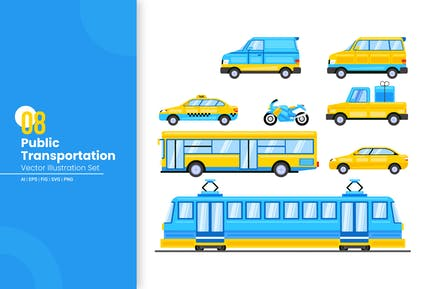 Public Transportation Vector Illustration Set