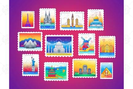 Briefmarken - Linienreisen, Welt-Wahrzeichen Illustration