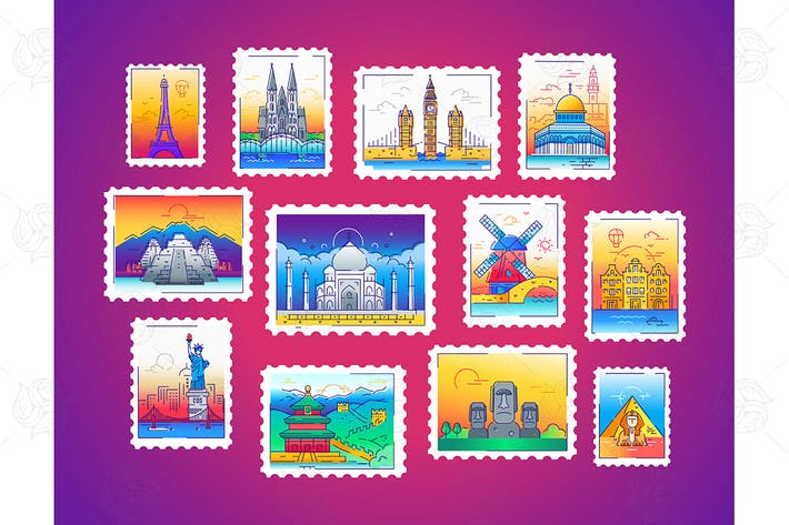 Thumbnail for Stamps - line travel, world landmarks illustration