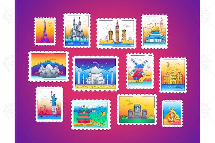 Thumbnail for Stamps - line travel, world landmarks illustration