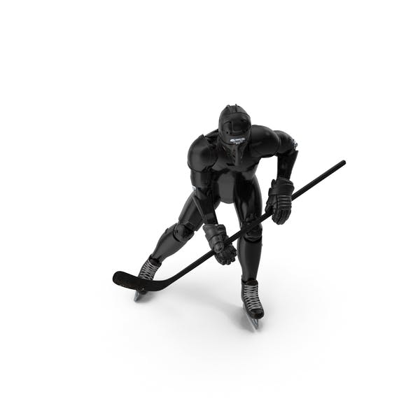 Thumbnail for Humanoid Hockey Player With Stick Pose Black