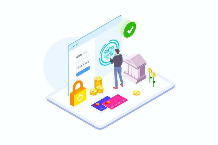 Thumbnail for Payment Security by Finance Isometric - FV