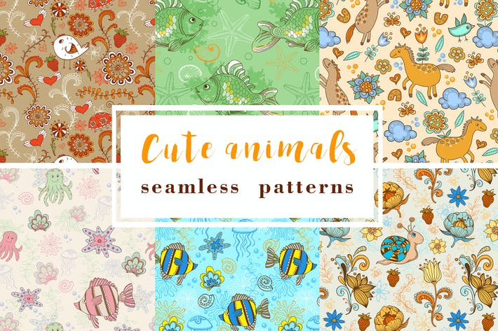 Cover Image For Seamless Patterns with Animals