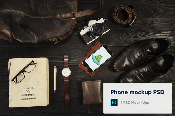 Thumbnail for Phone and other things mockup psd - hero image