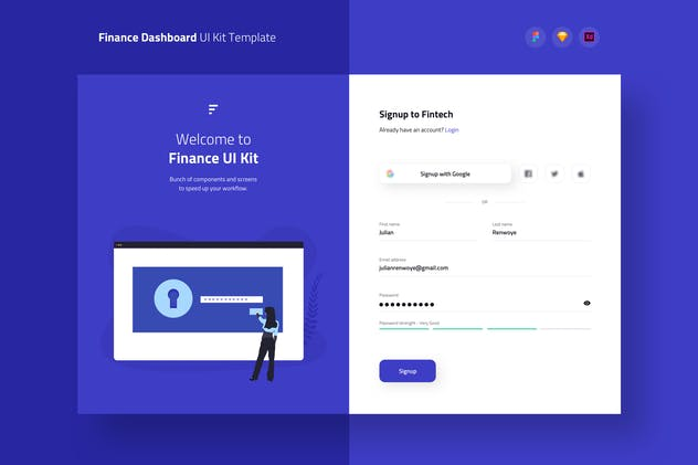Finance Wallet Signup Dashboard UI Kit Template