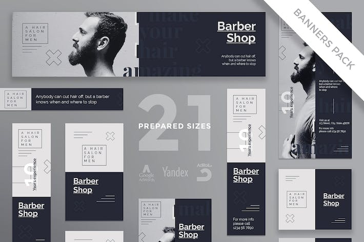 Thumbnail for Barbershop Haircut Banner Pack Template