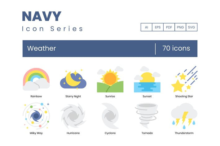 Thumbnail for 70 Weather Icons - Navy Series