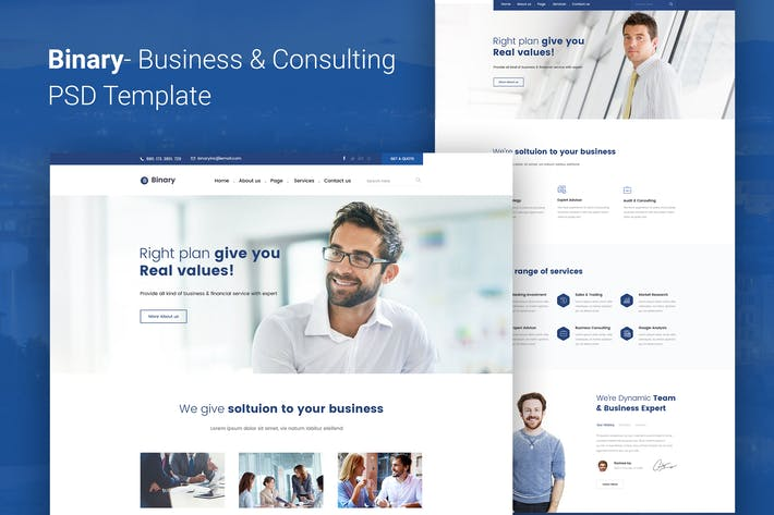 Thumbnail for Binary - Business Consulting PSD Template