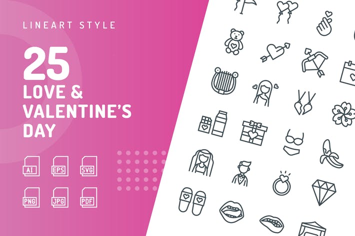 Thumbnail for Love & Valentine's Day Line Icons