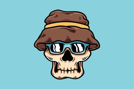 Skull With Hat And Glasses