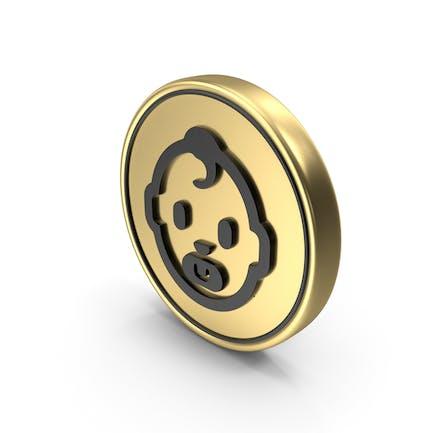 Babypflege Gesicht Münze Logo Symbol