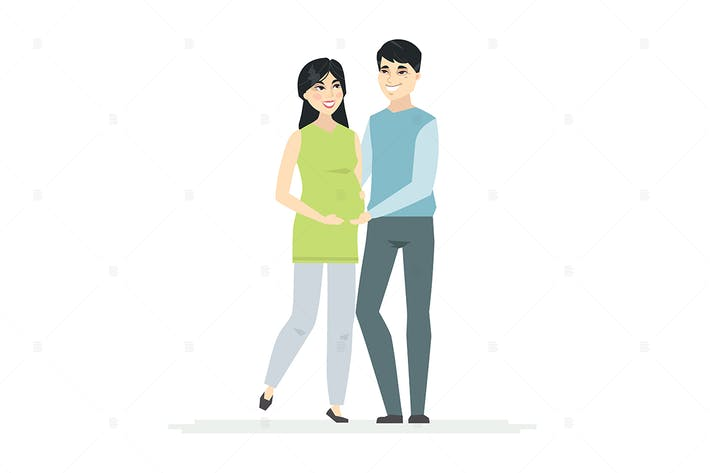 Thumbnail for Chinese couple expecting a baby - illustration