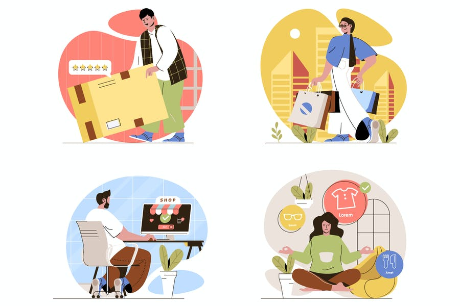 Shopping Flat Line Illustrations Set