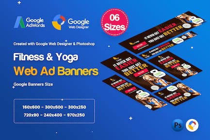 Yoga & Fitness Banners Ad D35 - GWD & PSD