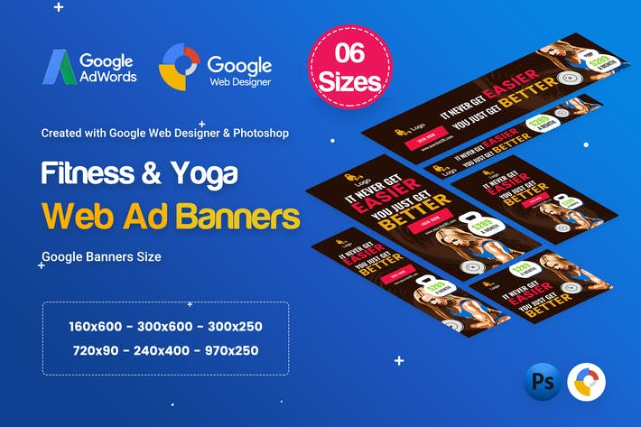 Thumbnail for Yoga & Fitness Banners Ad D35 - GWD & PSD