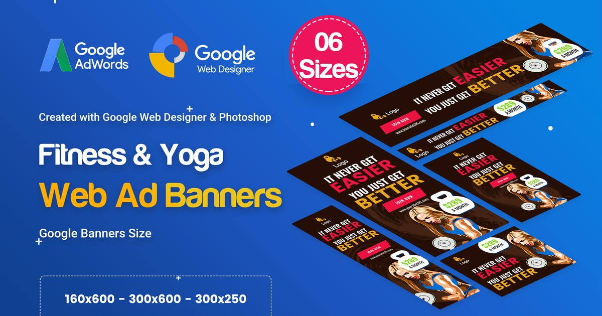 Yoga & Fitness Banners Ad D35 - GWD & PSD by iDoodle