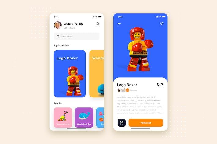 Thumbnail for Toys Shop Mobile App UI Kit Template