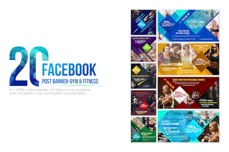 20 Facebook Post Banner - Fitness & Gym