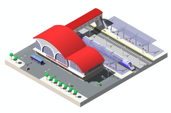 Railway Station Vector Isometric