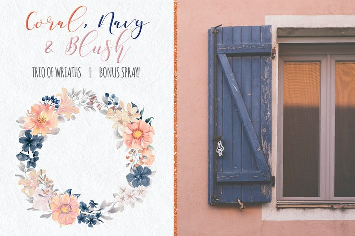 Thumbnail for Coral, Navy and Blush Watercolor Wreaths