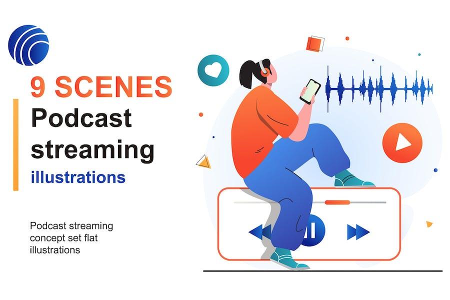 Podcast Streaming Web Scenes Set