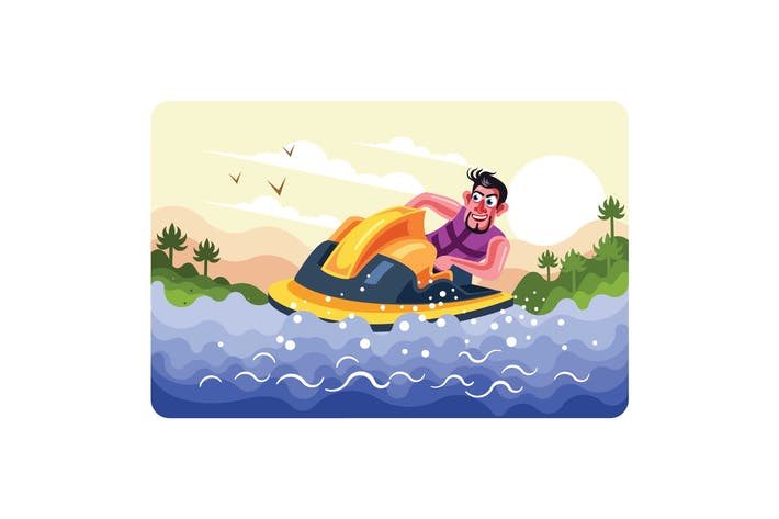 Thumbnail for Man Rides a Jet Ski Vector Illustration