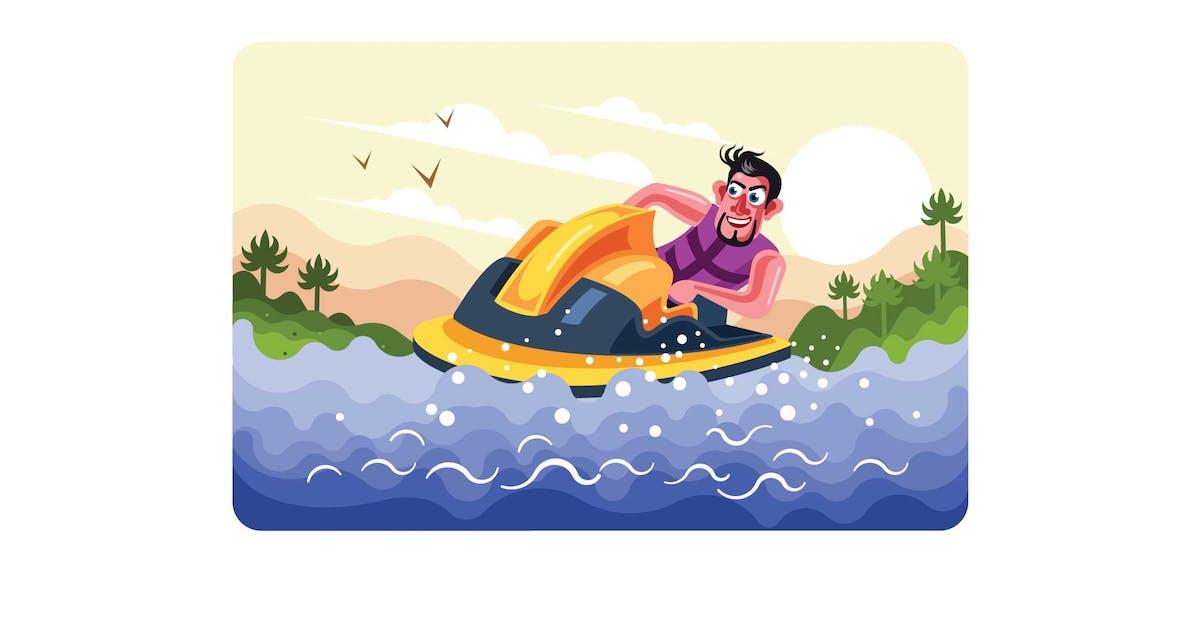 Download Man Rides a Jet Ski Vector Illustration by IanMikraz