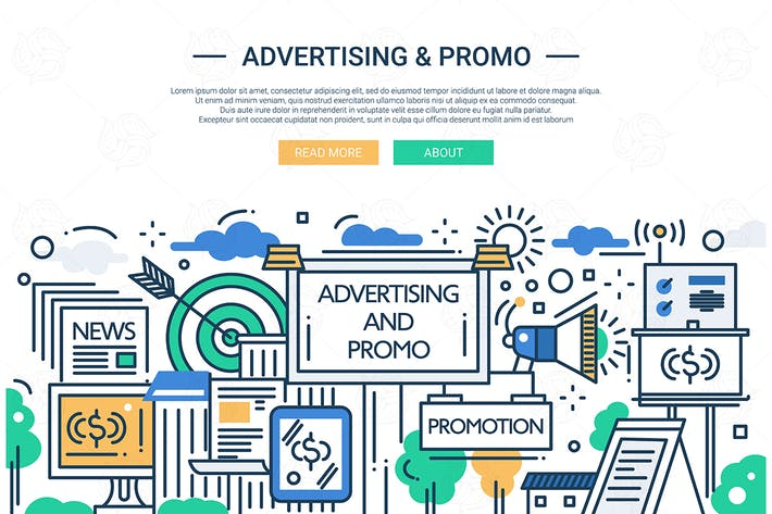Cover Image For Advertising and Promo - line design website banner
