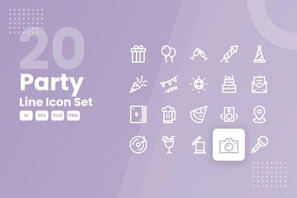 20 Party Line Icon Set