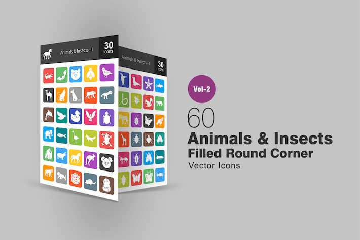 Thumbnail for 60 Animals & Insects Filled Round Corner Icons