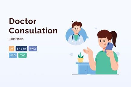 Doctor Consultation, Healthcare Illustration