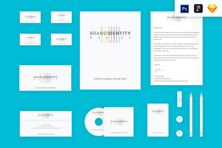 Thumbnail for Branding Identity Set : Colored Lines v2